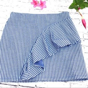 Top Shop ruffle checkered blue skirt stretch
